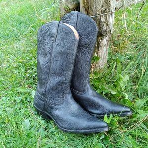 Sena black cowboy boots pebble leather